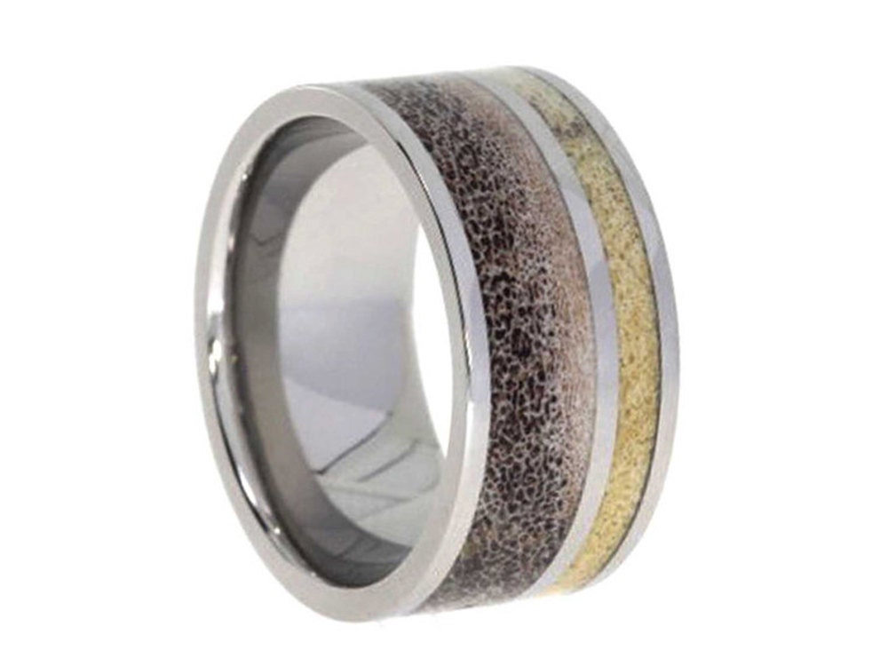 deer antler wedding band titanium ring with by