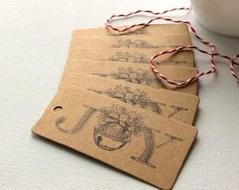 20 Mini Christmas Joy Gift Tags, Joy gift tags, holiday gift tags, Christmas gift tags, Christmas gift ideas, holiday gift wrap