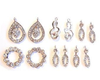 Set of 5 Pairs of Small Rhinestone Drop Charms and 1 Pair of Flat Backs Silver-tone