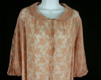 Vtg Artemis full pink lace over nylon robe in a size Large L chest 48in.