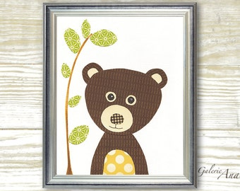 Baby Room Nursery Art - Children Decor - nursery wall art - woodland - nursery forest - kids bear - nursery decor - Nounours print