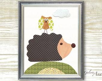 Baby Nursery Decor - Hedgehog - Promenade En Foret print by GalerieAnais