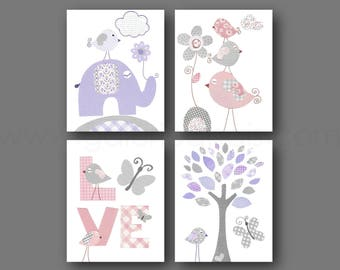 Nursery Decor Baby Girl Nursery Art Purple pink Gray Baby Nursery wall art Tree Elephant Birds Butterfly nursery Love Set of 4 prints