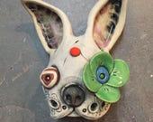 Ceramic Mask, oni, wall hanging, sculpture, original art, yokai, frenchie, french bulldog