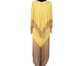 LORIS AZZARO Vintage 70s Yellow CAPE top and skirt set dress long chain fringes