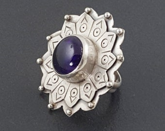 Amethyst Flower Ring, size 8, purple amethyst ring, chunky ring, large ring, boho ring, big ring, purple amethyst, statement ring