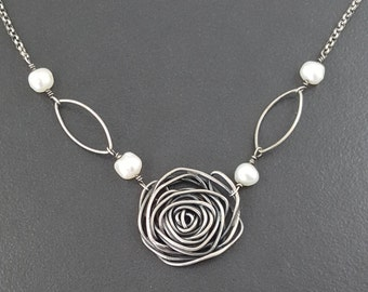 Rose and Pearl Necklace, roses, sterling silver, pearl necklace, silver rose, black gray silver, spiral necklace, flower necklace, pearl