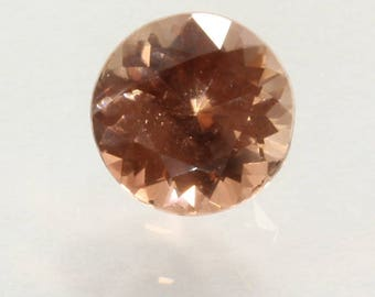Peach Copper Oregon Sunstone Precision Meet Point Faceted 5.0mm Round .42 carat