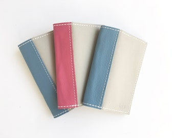 Personalized Passport Cover in Light Grey - Genuine leather, custom made in colors you choose