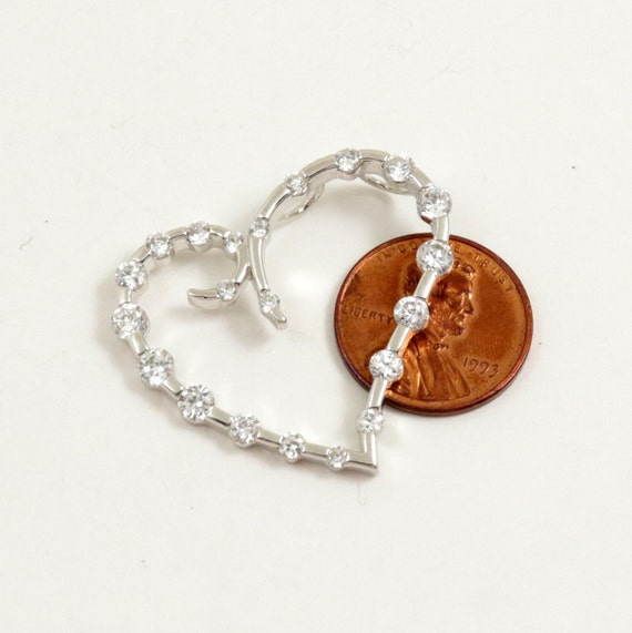 Vintage Sterling Silver Diamonique Open Heart Pendant, Diamond Quality Cubic Zirconia