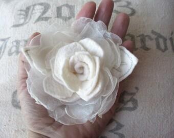 Large fabric clip on rose flower rosette clip singed white chiffon felt rose for hair, decor, clothing wedding accessory