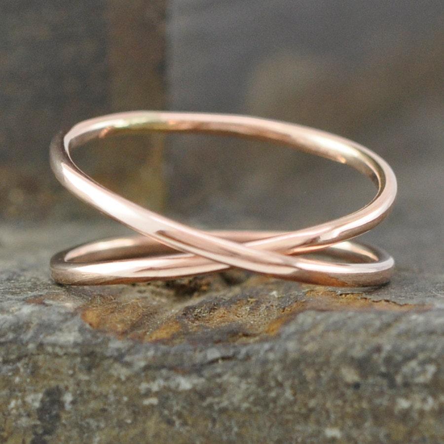 14k Rose Gold Infinity Ring Eternity Band Unique Wedding