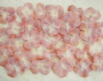 36 PC Rhinestone Beaded Flower Applique Terra Cotta Tan Baby Hydrangea Petals Bridal Christening Bow