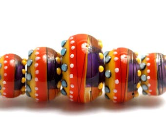 NEW! 11008911 - Five Barcelona Gloss Graduated Rondelle Beads - Handmade Glass Lampwork Beads