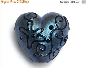 ON SALE 40% OFF Blue Pearl Surface w/Black String Heart -11813505-Handmade Glass Lampwork Bead