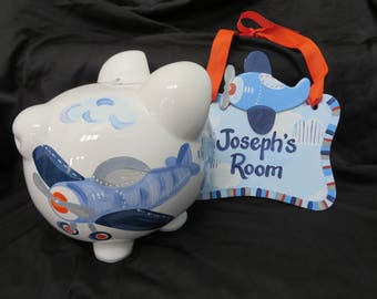 piggy bank hand painted personalized josephs airplane