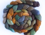 Corriedale Wool Roving - Hand Painted Spinning or Felting Fiber, Gold Brocade