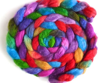 Superwash BFL Wool Roving - Hand Painted Spinning or Felting Fiber, Color Tag