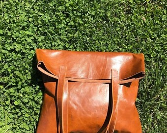 Honey Coated Leather Tote