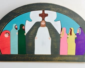 Easter Resurrection Scene Handmade Puzzle 14 solid wood peices