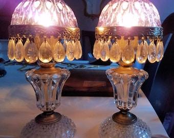 Antique Blue Violet Glass and Crystal Boudoir Lamps, Vintage Blue Bedroom Lamps, Petite Pair Crystal Lamps, Prism Lamps, Vintage Lighting