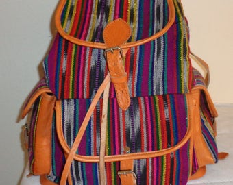 Colorful ex large backpack, sling bag in woven fabric and genuine saddle leather  strong spacious unusual awesome vintage very clean