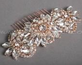 Bridal Hair Comb, Rose Gold Bridal Headpiece, Rhinestone Wedding Hair Accessory, Rose gold, Silver, Gold - Belita