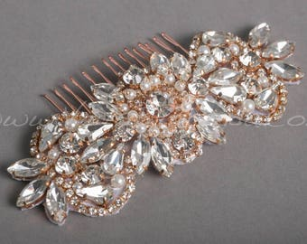 Rose Gold Hair Comb, Rose Gold Bridal Headpiece, Rhinestone Wedding Hair Accessory - Belita