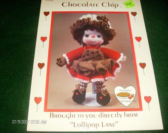 Crochet Dumplin Doll Chocolate Chip Lollipop Lane CDC404 Crochet Pattern Leaflet