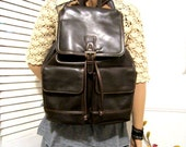 Vintage Large Backpack in Brown Color  Non Leather  Brown Backpack Rosetti