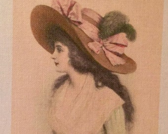 """Vintage fusible image - Lady with pink hat  2""""x3"""""""