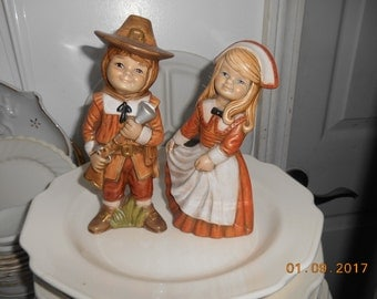 Vintage Ceramic Boy and Girl Thanksgiving Figurines