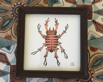 Red Stag Beetle, original watercolor painting, framed