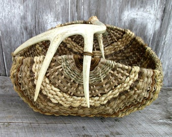 Large Antler Basket with Real Shed Antler in Beige and Brown by Marcia Whitt