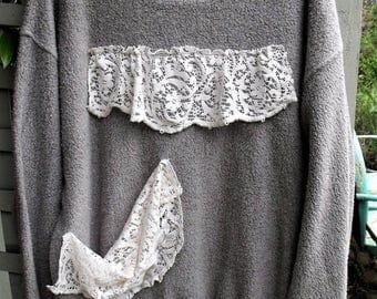 Gray-Lace Tunic/ Oversize/ Fleecey, Squishy, Lacey/ 3X Upcycled Tunic/ Soft CottonRayonPoly/ Upcycled Lace Embellished/ Sheerfab Funwear