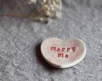 Heart Dish Marry Me Wedding Dish in Stoneware