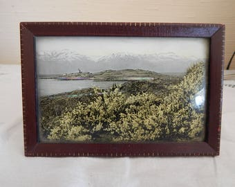 Reversed Painted Glass Postcard - Curved Glass in Frame - Vintage Picture