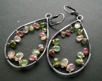 Tourmaline hoop earrings - sterling silver, 14K goldfill, green tourmaline and pink tourmaline