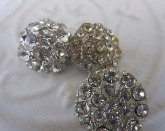Vintage buttons, rhinestone styles, 3/4 inch, 1950's, metal, rhinestones, lot of 3  flower designs (jan 136-17 )