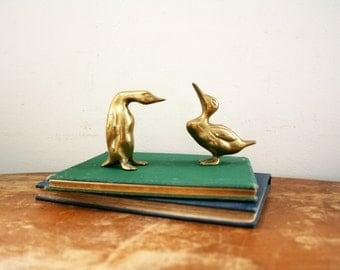 vintage 70s Brass Birds Ducks Penguins Figurines Paperweight  // Retro Shelf Decor