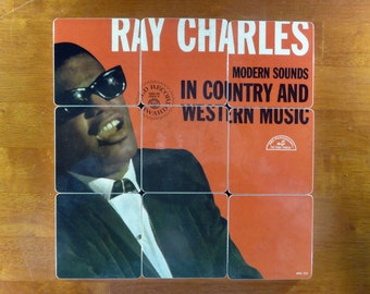 Ray Charles recycled album cover wood coasters and warped record bowl