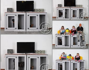 BRAND NEW Custom built large dog crate, dog kennel, entertainment center