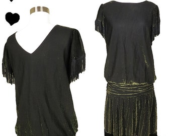 Vintage 80s Dress // Gold Metallic Lurex Drop Waist Black Fringe Dress L Flapper 20s Style Great Gatsby Party Jazz Age