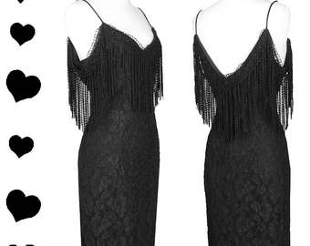 Vintage 80s 90s Dress // Black FRINGE Lace Cocktail Party Dress L Flapper Body Con Prom 1980s 1990s Grunge Stretch Off Shoulder 20s Flapper
