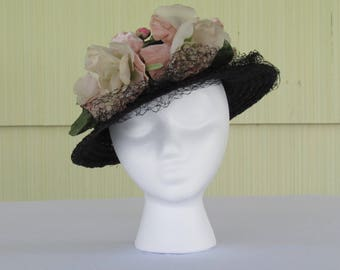 1940's vintage navy blue straw boater hat with pink flowers and veil