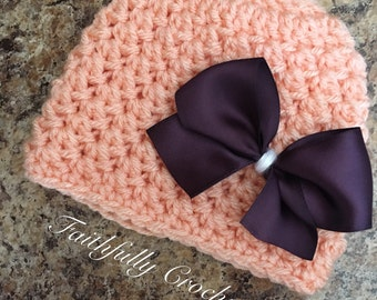 Newborn beanie... peach with removable purple bow.. photography prop.. ready to ship