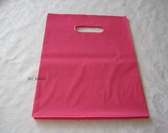 50 Pink Plastic Bags 9x12, Retail Merchandise Bags, Glossy Plastic Bags