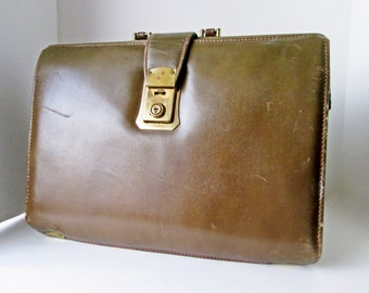Leather Doctors Bag, Birkdale Soft Touch, Brown Expandable Gladstone Bag, Briefcase Travel Vintage Man Attache Case Luggage Cheney Latch
