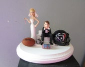 Houston Texans Wedding Cake Topper Bridal Funny Football team Themed Ball and Chain Key with matching garter Hair color changed for free