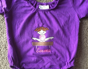 Personalized Embroidered  Gymnastics Gymnast Girls Purple Toddler Tumbling Leotard Size Large 4-6 toddler Short Sleeves Balance beam